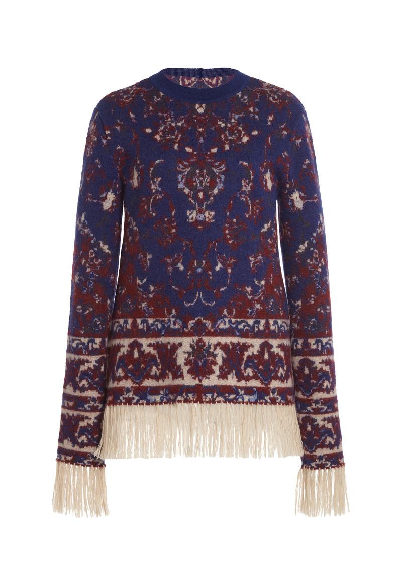 Paco Rabanne - Women's Fringe-Trimmed Wool Jacquard Crewneck Sweater  - Multi - Moda Operandi