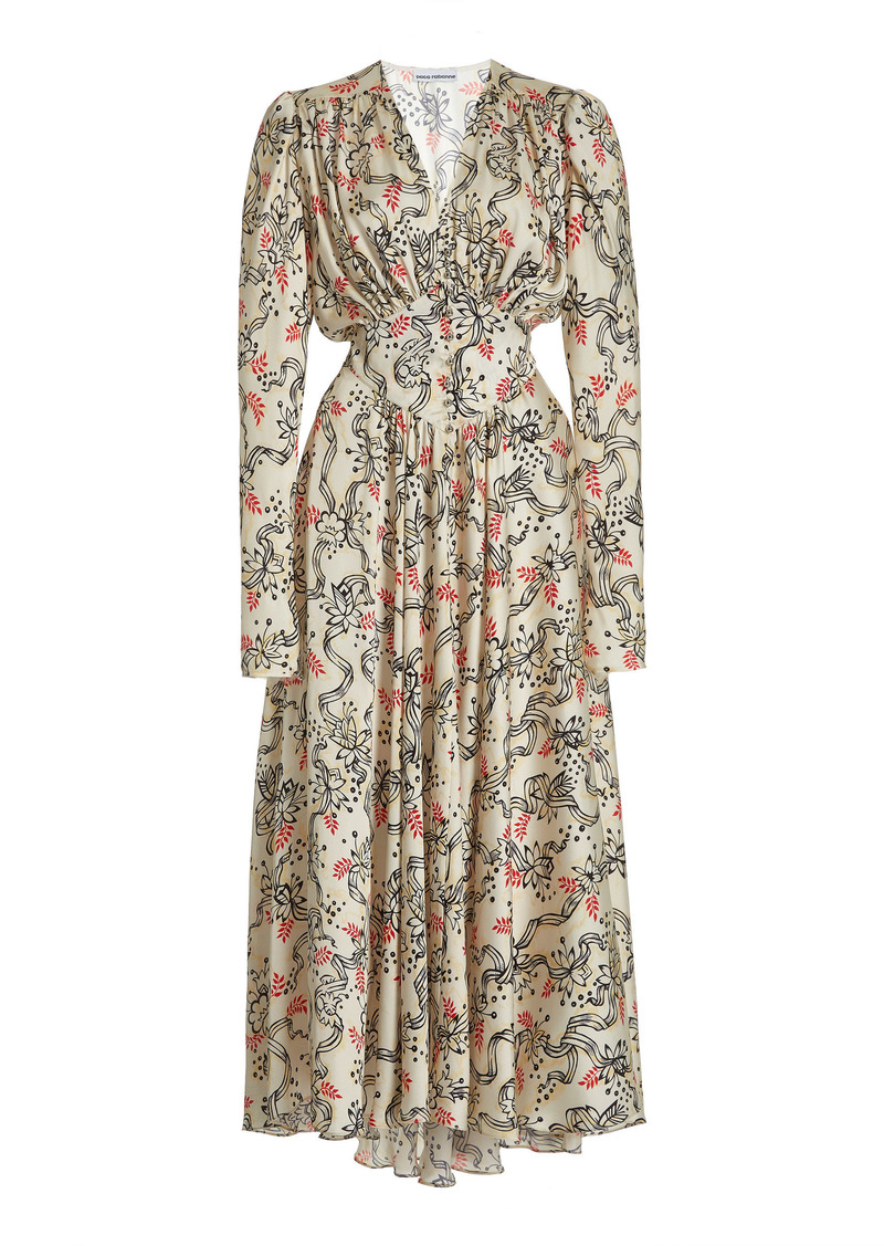 Paco Rabanne - Women's Gathered Floral Crepe Midi Dress - Floral/print - Moda Operandi
