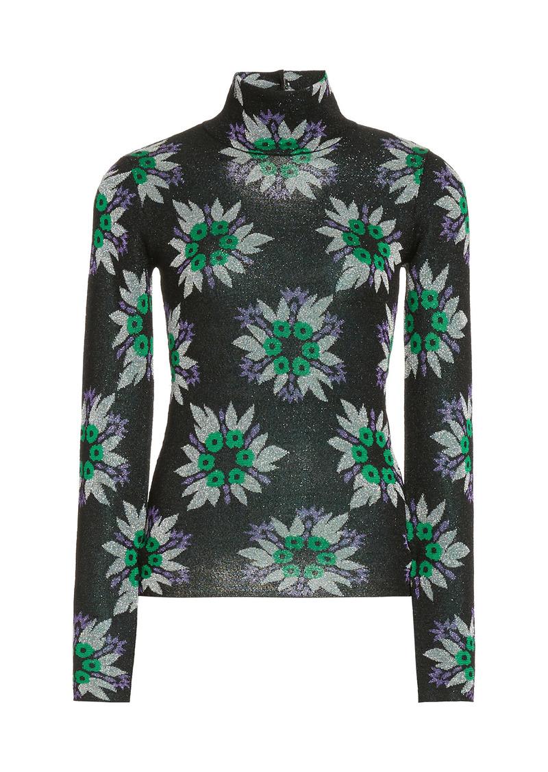 Paco Rabanne - Women's Metallic Floral Jacquard Mock-Neck Top - Floral - Moda Operandi