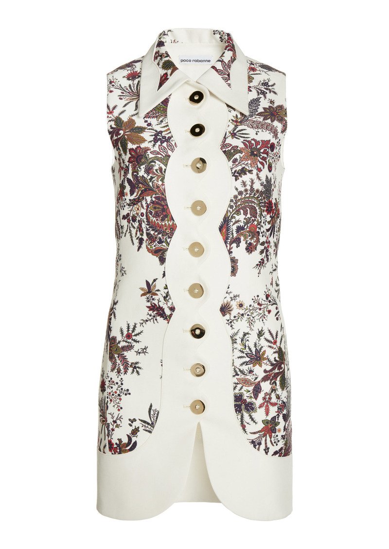 Paco Rabanne - Women's Printed Cotton-Blend Tunic - White - Moda Operandi