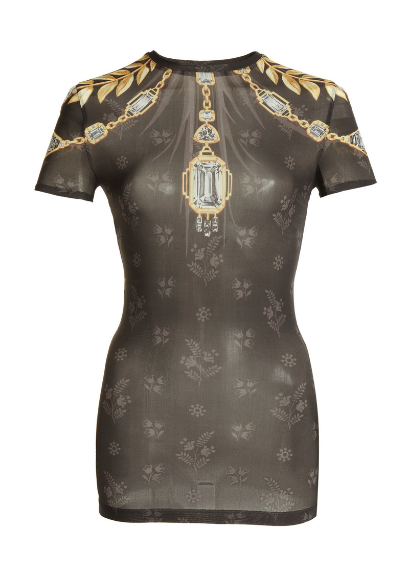 Paco Rabanne - Women's Printed Mesh Jersey T-Shirt - Black - Moda Operandi