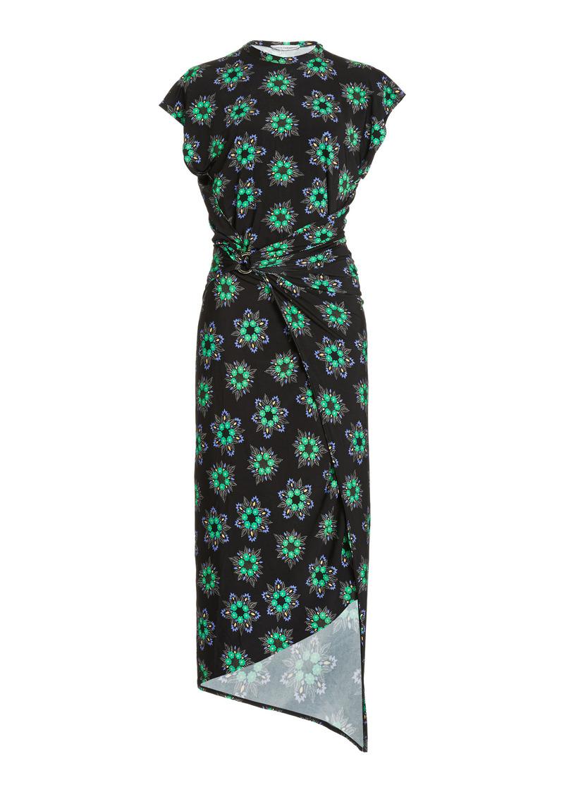 Paco Rabanne - Women's Ring-Detailed Draped Floral Stretch-Jersey Midi Dress - Floral - Moda Operandi