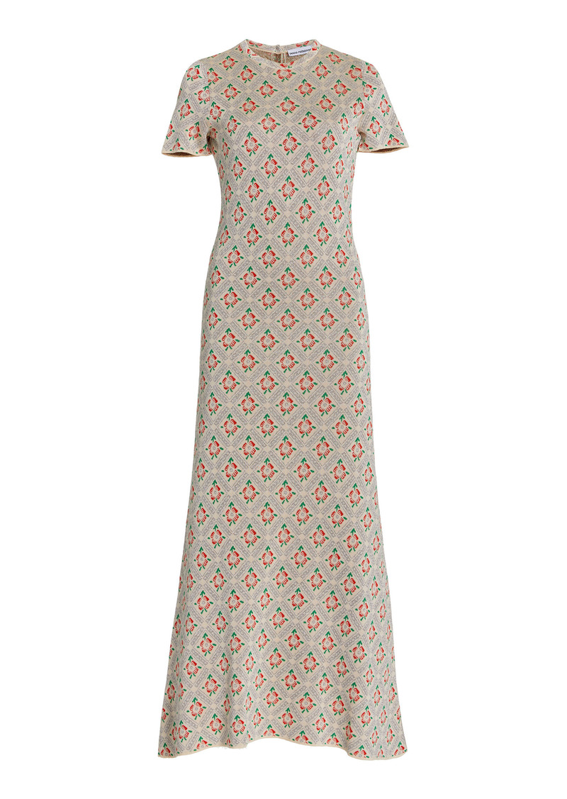 Paco Rabanne - Women's Ring-Detailed Floral-Jacquard Midi Dress - Print - Moda Operandi
