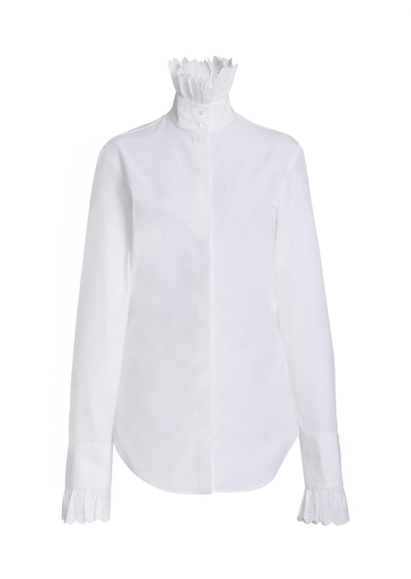 Paco Rabanne - Women's Ruffled Cotton Poplin High-Neck Shirt - White - Moda Operandi