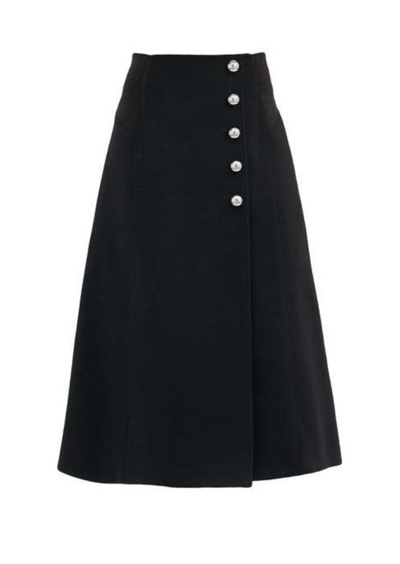 Paco Rabanne Buttoned brushed wool-blend twill wrap skirt