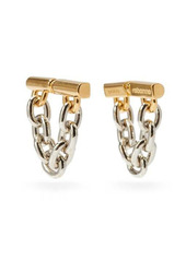 Paco Rabanne Chain-link logo-engraved metal earrings
