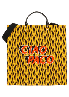 Paco Rabanne Ciao Paco Print Canvas & Leather Tote - Yellow