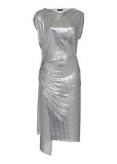 Paco Rabanne Draped Metallic Midi Dress