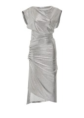 Paco Rabanne Draped Metallic Midi Dress