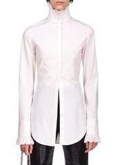Paco Rabanne Ruffled Cotton Poplin High-Neck Shirt