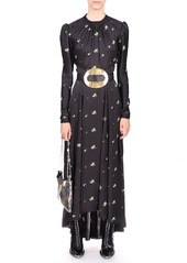 Paco Rabanne Floral-Embroidered Satin Maxi Dress