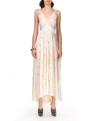 Paco Rabanne Floral-Embroidered Satin Midi Dress
