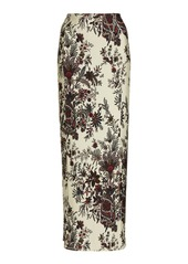 Paco Rabanne Floral-Print Cady Pencil Skirt