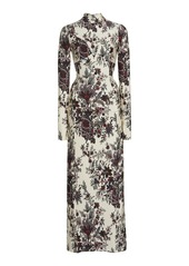 Paco Rabanne Floral-Print Stretch-Jersey Maxi Dress