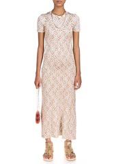 Paco Rabanne Ring-Detailed Floral-Jacquard Midi Dress