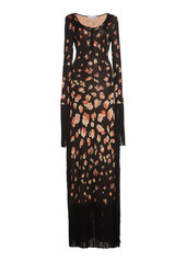 Paco Rabanne Fringe-Trimmed Floral Cotton-Blend Jacquard Maxi Dress