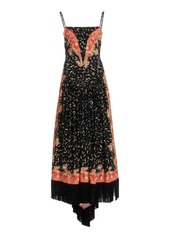 Paco Rabanne Fringe-Trimmed Printed Stretch-Jersey Maxi Dress