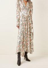 Paco Rabanne Gathered Floral Satin Midi Dress