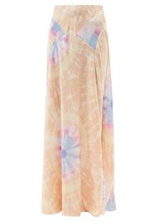 Paco Rabanne High-rise tie dye-print satin maxi skirt