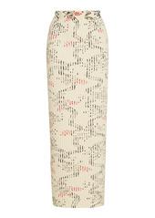 Paco Rabanne Jupe Printed Ribbed Cotton Midi Skirt