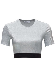 Paco Rabanne Laminated Silver Top With Logoed Elastic Band