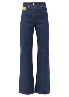 Paco Rabanne Leather-patch high-rise flared jeans