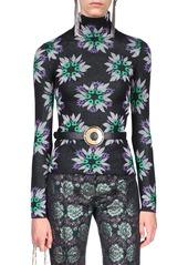 Paco Rabanne Metallic Floral Jacquard Mock-Neck Top