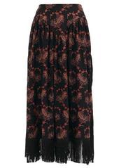Paco Rabanne Paisley-embroidered tasselled skirt
