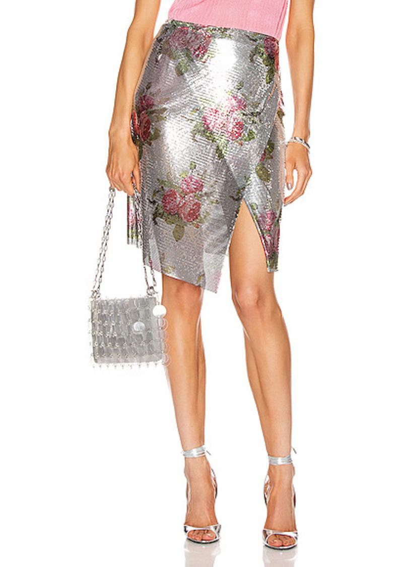 PACO RABANNE Printed Mesh Iconic Skirt
