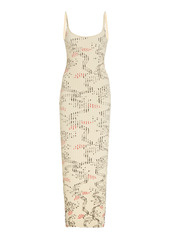 Paco Rabanne Printed Ribbed Cotton Maxi Dress