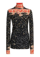Paco Rabanne Printed Stretch-Jersey Turtleneck Top