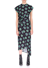 Paco Rabanne Ring-Detailed Draped Floral Stretch-Jersey Midi Dress
