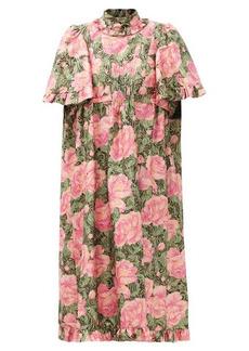 Paco Rabanne Ruffled metallic floral-jacquard dress