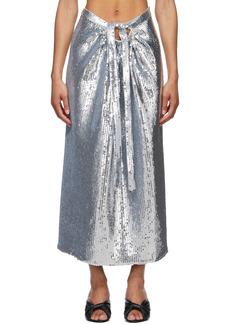 Paco Rabanne Silver Sequin Midi Skirt