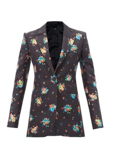Paco Rabanne Single-breasted floral-print cotton-blend jacket
