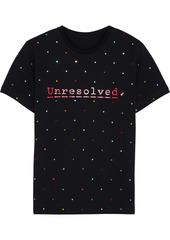 Paco Rabanne Woman + Peter Saville Embellished Printed Cotton-jersey T-shirt Black