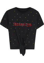 Paco Rabanne Woman + Peter Saville Knotted Embellished Printed Cotton-jersey T-shirt Black