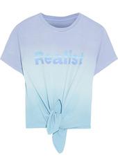 Paco Rabanne Woman + Peter Saville Knotted Printed Dégradé Cotton-jersey T-shirt Light Blue