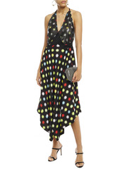Paco Rabanne Woman Asymmetric Polka-dot Chainmail-paneled Crepe Midi Dress Black