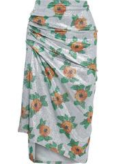 Paco Rabanne Woman Asymmetric Ruched Floral-print Stretch-lamé Skirt Silver