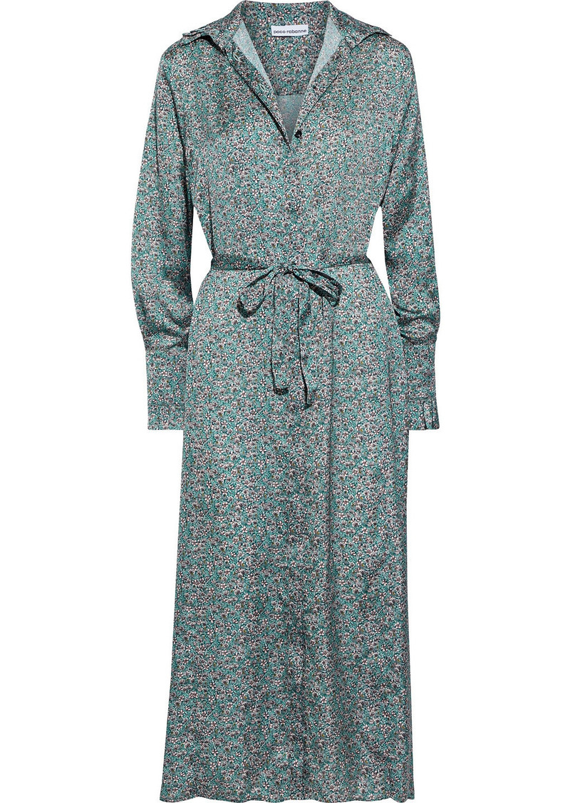 Paco Rabanne Woman Belted Floral-print Crepe De Chine Midi Shirt Dress Teal