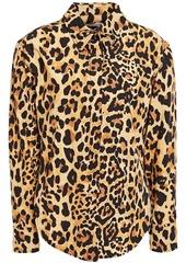 Paco Rabanne Woman Bow-detailed Leopard-print Stretch-cotton Poplin Shirt Animal Print