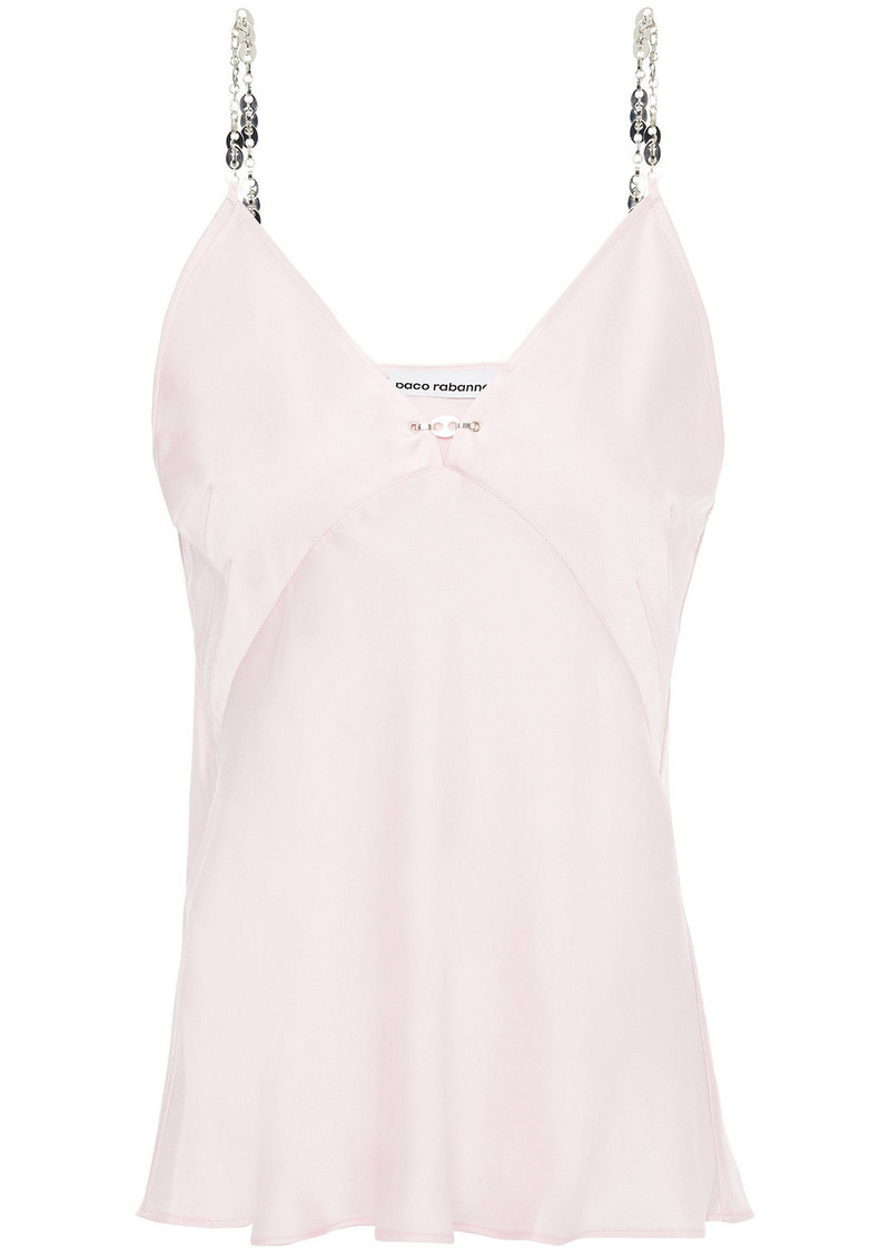 Paco Rabanne Woman Chain-trimmed Satin Camisole Pastel Pink