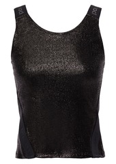 Paco Rabanne Woman Cropped Metallic Stretch-jersey Tank Black