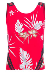 Paco Rabanne Woman Cropped Monogram-trimmed Printed Stretch Tank Tomato Red