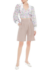 Paco Rabanne Woman Cropped Twill-paneled Floral-print Crepe De Chine Top White