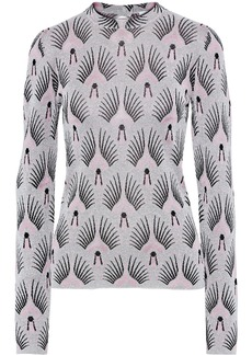 Paco Rabanne Woman Crystal-embellished Metallic Jacquard-knit Top Silver