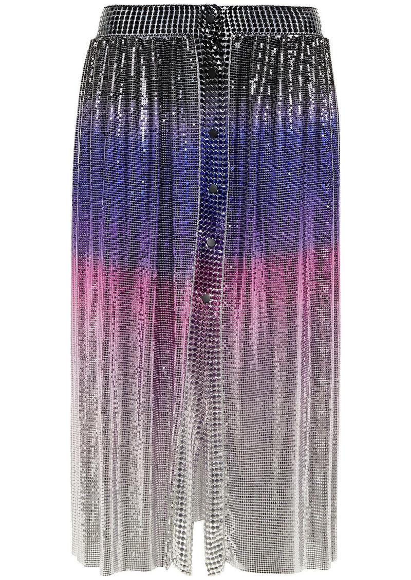 Paco Rabanne Woman Dégradé Chainmail Skirt Silver