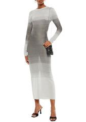 Paco Rabanne Woman Dégradé Metallic Stretch-knit Maxi Dress Silver