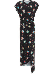 Paco Rabanne Woman Draped Floral-print Stretch-jersey Midi Dress Black